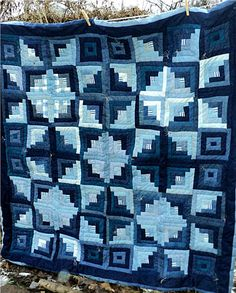 Denim Blue Jean Quilt Log Cabin Stars
