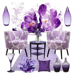 """""""Lilac decor"""" by nafisa-abdullah on Polyvore featuring interior, interiors, interior design, home, home decor, interior decorating, Dot & Bo, Daum, Waterford and LSA International"""
