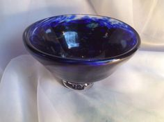 Blue and Purple Bowl Hand Blown Glass Art OOAK by MoltenColor