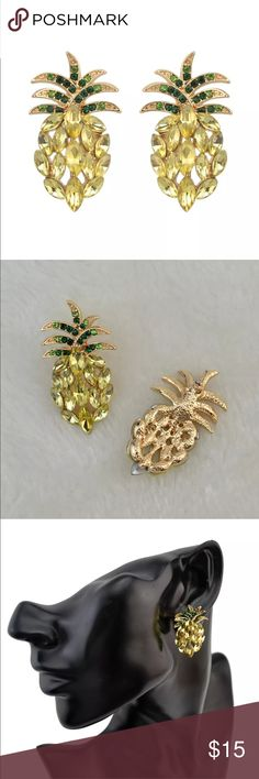 New✨ Pineapple Earrings 🍍😍 ✨ Fashion Jewelry ✨Alloy, Gold Plated, Crystal, Rhinestone    🔸Brand New✨ 🔸PRICE IS FIRM- already listed at lowest price  🔸If you want to save please look into bundling  🔸In Stock 🔸No Trades 🔸Will ship within 24 hours Monday-Friday  🚫Please -NO- Offers on items priced $10 and under AND ON SALE ITEMS‼️  🚫Serious Inquiries Only❣️  🔹Bundle one or more items from my boutique to only pay one shipping fee✨ Jewelry Earrings