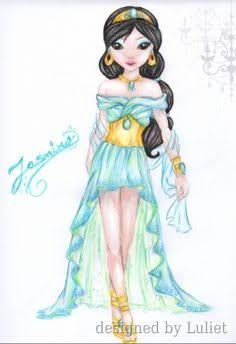 """""""Jasmine-Disney Glamour """"-Design drawn by Luliet Doll Drawing, Dress Drawing, Woman Drawing, Drawing Clothes, Painting & Drawing, Vintage Drawing, Cute Dolls, Fashion Sketches, Models"""