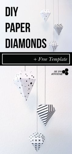 Paper Diamonds with free template DIY paper diamond with a free template. Easy to make and pretty home decor. All you do is print, cut and glue.DIY paper diamond with a free template. Easy to make and pretty home decor. All you do is print, cut and glue. Paper Diamond, Diamond Decorations, Paper Decorations, Paper Room Decor, Diamond Template, Carton Diy, Diamond Party, Paper Toy, Diy Inspiration