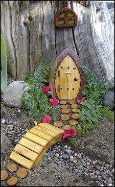 Miniature Garden Fairy Door Gnome Door Hobbit Door Elf - Gardening For You Gnome Door, Gnome House, Elf Door, Grandma's House, House Doors, House Front, Kids House, Gnome Garden, Fairies Garden