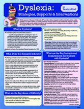 Dyslexia: Strategies, Supports & Interventions laminated card, by Sandra Rief). Published by National Professional Resources, Inc. Just in case Dyslexia Strategies, Reading Strategies, Reading Tips, Dyslexia Teaching, Teaching Reading, Reading Specialist, Intervention Specialist, Dyscalculia, Phonological Awareness