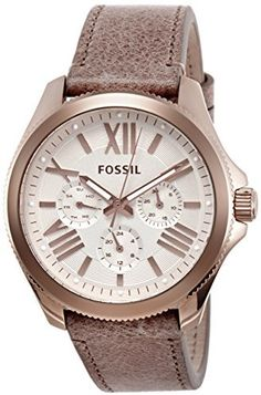 Fossil Women's AM4532 Cecile Multifunction Leather Watch - Sand on shopstyle.com