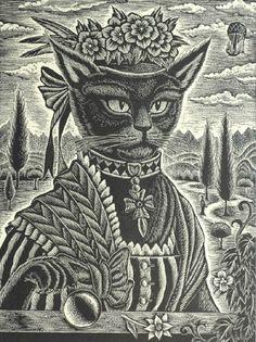 mitsuru nagashima - the black lady, wood engraving