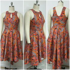 African Print Fit and Flare Hi-Lo Dress. Racer by NanayahStudio African Print Fit and Flare Hi-Lo Dress. Racer by NanayahStudio African Dresses For Kids, Latest African Fashion Dresses, African Print Dresses, African Print Fashion, African Attire, African Wear, Nigerian Dress, Style Africain, Looks Plus Size
