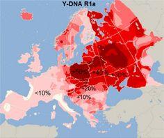 Čím tmavší červená barva, tím větší je dnes v populaci zastoupení slovanské DNA haploskupiny R1a.