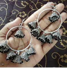 Used Sterling Silver Jewelry Key: 7107336077 Indian Bridal Jewelry Sets, Indian Jewelry Earrings, Silver Jewellery Indian, Jewelry Design Earrings, Ear Jewelry, Silver Jewelry, Silver Ring, Silver Earrings, Silver Necklaces