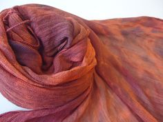 Muted Pumpkin Orange Navy Blue Purple Hand Dyed Scarf Incredibly Soft and Light Tie Dye Fringed Scarf olive mlou olivemlou olive m'lou