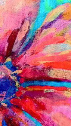 Abstract floral art print signed artwork red by BenDyerOriginalArt
