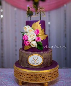Purple engagement cake by Riya