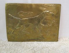 Vintage Embossed Brass Dog Plaque Hand Crafted English Pointer German Pointed Hunting Dog by KansasKardsStudio on Etsy