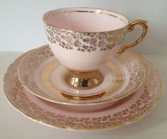 Vintage TUSCAN Fine Bone China Trio Tea Cup Saucer Plate- Pastel Pink & Gilded in Pottery, Porcelain & Glass, Porcelain/ China, Tuscan | eBay