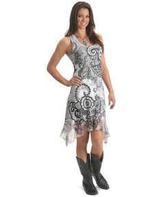 Panhandle Slim Rhinestone Embellished Floral with Lace Sleeveless Dress