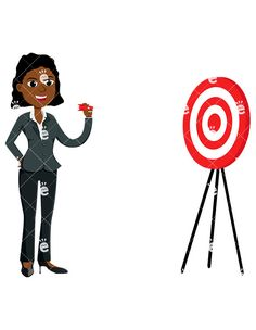 A Black Businesswoman About To Throw A Dart:  #accounting #adorable #affiliate #african #african-american #aiming #american #attractive #banker #black #boss #bull's-eye #bullseye #business #businessdirector #businesswoman #capitalist #career #cartoon #CEO #character #clipart #company #corporate #corporation #curvy #cute #dartboard #darts #drawing #driven #employee #enterprise #entrepreneur...