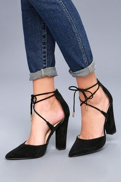 5421c6a2f302 Luna Black Suede Lace-up Heels
