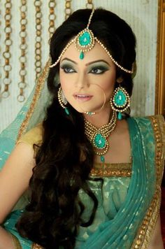 turquoise wedding lehengha and jewelry