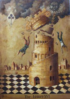 "Arcane XVI : La Maison-Dieu - Jake Baddeley - ""The Tower"" - Huile sur toile. The Tower Tarot, Tower Of Babel, Tarot Major Arcana, Spiritus, Tarot Decks, Archetypes, Surreal Art, Intuition, Apocalypse"