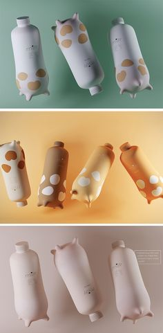 We're always in the mooooood for a good packaging design and this one is udderly the best! Quite simply, it's shaped like a cows udder which is not only freakin' cute but ergonomic. 4 little teats give it a little stability and something to hold on to when you're pouring a cold glass of milk!