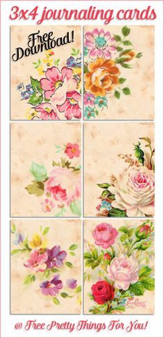 Free Journaling Cards: Pretty Vintage Floral Tags - Free Pretty Things For You Vintage Ephemera, Vintage Cards, Vintage Paper, Decoupage Vintage, Scrapbooking, Scrapbook Paper, Vintage Flowers, Vintage Floral, Journal Cards