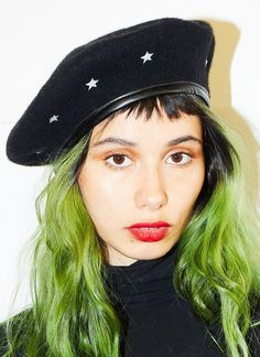 Take your head to the stars with our new black wool beret featuring a white star pattern and comfy black pleather lining around the edge. Face Photography, Wool Berets, Star Patterns, Black Wool, Industrial Style, Caps Hats, Character Inspiration, Baseball Hats, Feminine