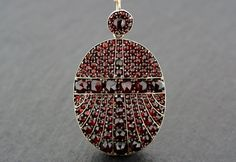 Antique Garnet Locket - Victorian Bohemian Garnet Locket-back Pendant - Pyrope Garnet Locket