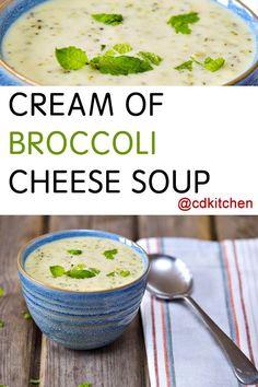 Made with milk, butter, onion, flour, salt, white pepper, thyme, garlic powder, chicken bouillon, water, cheddar cheese, broccoli | CDKitchen.com