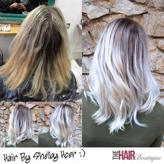 Another stunning ice blonde colour melt by Shelby Hoer!  In the before photo you can see Shelby's client's hair was grown out and long over due for a refresh. Shelby used Goldwell and Olaplex products to give her client this breath taking, ice blonde colour melt.  Colour Melting is a technique that blends the highlights with the base colour of the hair so you don't have any harsh lines, and the blend is seamless.