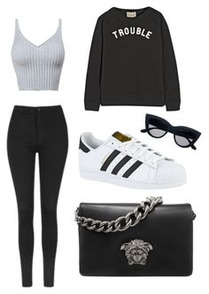 """""""Trouble maker"""" by princesssophiavickers ❤ liked on Polyvore featuring Topshop, Sea, New York, adidas and Versace"""