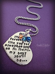 I'll Love You Forever Book Quote Heart Handstamped Necklace, birthstones, Mother Jewelry, Stillbirth, Infant loss