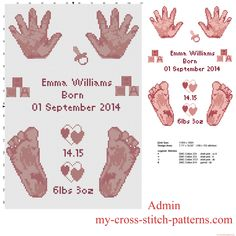 Cross stitch pattern birth record with baby pink hands and feet free download