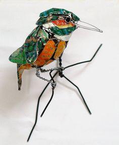 made with scraps of metal bird-7