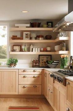 New Kitchen Shelves Scandinavian Cabinets Ideas Big Kitchen, Kitchen Corner, Kitchen Shelves, Kitchen Cabinets, Corner Shelves, Wood Shelves, Scandinavian Kitchen, Cabinets And Countertops, Decorating Kitchen