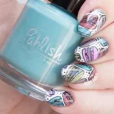 Reverse Stamping ~ with Pahlish – Patisserie de Pahlish collection and Bundle Monster stamping plate BM-XL153 Parisian Perfection ~ by Very Emily »