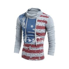 Western Style Drawstring Heaps Collar American Flag Print Hit Color... ($15) ❤ liked on Polyvore featuring men's fashion, men's clothing, men's shirts, men's t-shirts, mens cowboy shirts, mens western shirts, mens slim fit shirts, mens collared shirts and mens t shirts