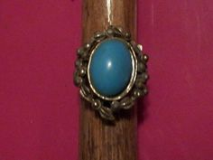 Vintage Silver Turquoise Oval Stone Adjustable Ring