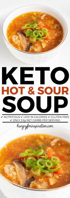 Keto-Friendly Chinese Hot And Sour Soup Recipe - healthy, nutritious, delicious and low in carbs with only net carbs per serving! Make this healthy Keto Soup recipe whenever you crave the classic from Chinese restaurants - taste just like the original! Hot N Sour Soup, Easy Hot And Sour Soup Recipe, Hot And Sour Soup Recipe Vegetarian, Keto Chinese Food, Sweet Potato Soup, Healthy Soup Recipes, Vegetarian Soups, Freundlich, Healthy Recipes