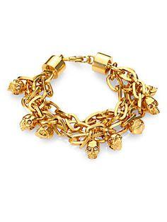 Alexander McQueen Multi-Chain Skull Charm Bracelet/Goldtone