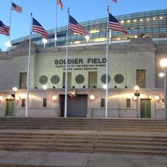 """Soldier Field - All Chicagoans know there is no """"S"""" in Soldier Field. This stadium is dedicated to all men and women who serve or have served in the Armed Forces. Chicago Travel, Chicago City, Chicago Illinois, Chicago Bears, The Places Youll Go, Cool Places To Visit, Great Places, Places To Travel, Chicago Buildings"""