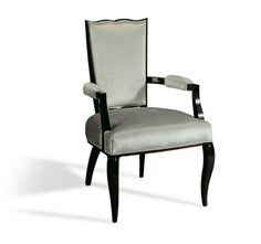Epoca - Vanity Dining Armchair. The sweetheart shaped backrest and gently curved cabriole legs of this traditional dining armchair lend it a pared down aesthetic. #LuxDeco #EditorsPicks #Epoca