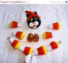 ON SALE Large HALLOWEEN Bead Set by Mavis by SugarPawsStashShoppe (Craft Supplies & Tools, Jewelry & Beading Supplies, Beads, Mixed Lots, lampwork, Mavis, jewelry component, bracelet, beads, hand made, halloween, cat, candy corn, witch, pumpkin, focal)
