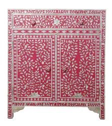 Surrealz Mother of Pearl inlaid Chest of Drawers Cupboard Sideboard in Pink with floral scroll pattern Also available in other bone inlay, colours and patterns
