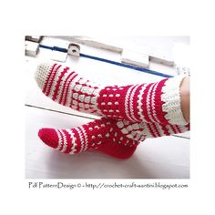 Crochet Socks. Norwegian style Tall Socks pattern.i