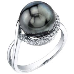 This black pearl ring is from Radiance Pearl and features a gorgeous 10 millimeter Tahitian pearl set with diamonds in 18k white gold.  The black pearl is AAA quality and is accented by .14 carats of white diamonds.  This is a beautiful Tahitian black pearl ring from Radiance Pearl. Black Tahitian Pearl   Round Brilliant Cut White Diamond   G - H color SI clarity  weighing 0.14 carats  18K White Gold Hand Finished