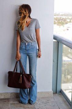 gray tee, flare leg jeans