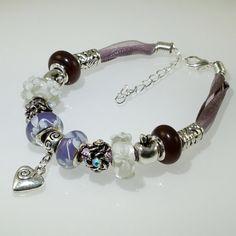 European Charm Bead Bracelet Heart Handmade Purple by BekisBeads