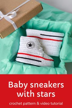Digital pattern includes pdf description with photos and video tutorial with subtitles. Inspired by Converse, this crochet pattern of baby booties makes a great and memorable pregnancy gift, baby shower gift, fashion baby outfit.#crochetpattern #crochetbabyshoes #babybooties Pregnancy Gift For Friend, Pregnancy Gifts, Craft Projects For Kids, Diy For Kids, Sports Baby, Baby Clothes Patterns, Crochet Baby Shoes, Baby Sneakers, Crochet Patterns