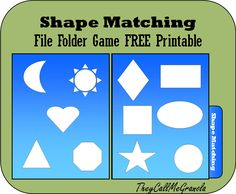 File Folder Games for Tots & Preschoolers: Color Matching & Shape Matching Shape Matching File Folder Spiel: TheyCallMeGranola: FREE Printable Preschool Special Education, Preschool Games, Preschool Printables, Learning Activities, Preschool Projects, Toddler Learning, Toddler Activities, Preschool Activities, Folder Games For Toddlers