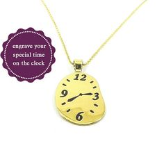 Clock pendant with your time engraved, personalized time clock pendant, gold plated sterling silver - Ship by DHL EXPRESS Rose Gold Plates, Silver Plate, Time Of Your Life, Time Clock, Beautiful Gift Boxes, Or Rose, Necklace Lengths, Ship, Pendant Necklace